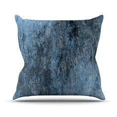 KESS InHouse CT3019AOP03 18 x 18-Inch 'CarolLynn Tice Familiar Dark Blue' Outdoor Throw Cushion - Multi-Colour