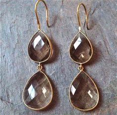 Double Smoky Quartz Drops on Matte Gold #smoky quartz earrings #brown earrings #earrings