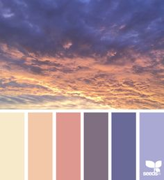 Heavenly Hues via @designseeds #seedscolor #color #colorpalette #color #palette #pallet #colour #colourpalette #sunrise #sunset #yellow #peach #orange #periwinkle #blue
