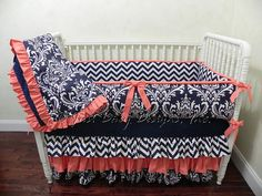 Ready to Ship Baby Crib Bedding Set - Navy Damask with Navy Chevron and Coral on Etsy, $379.00