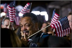 At an election night rally in Chicago, Rev. Jesse Jackson reacts after projections show that Barack Obama won the US presidential election.