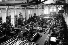 View of one of the large halls of the Rheinmetall-borsig Armament factories at Duesseldorf, Germany, on August 13, 1939, where gun barrels are the main output. Before the start of the war, German factories were cranking out pieces of military machinery measured in the hundreds per year. Soon it climbed into the tens of thousands. In 1944 alone, over 25,000 fighter planes were built. (AP Photo)