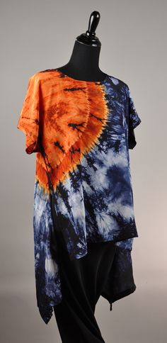 Lilly Tunic high front with low back points, silk crepe, medium spice ori nui shibori and steel