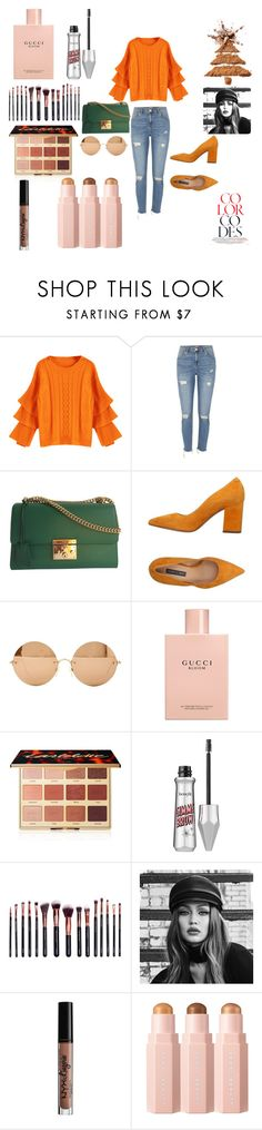 """Untitled #19"" by aneturk ❤ liked on Polyvore featuring River Island, Gucci, Janet & Janet, Victoria Beckham, tarte, M.O.T.D Cosmetics, Maybelline and Charlotte Russe"