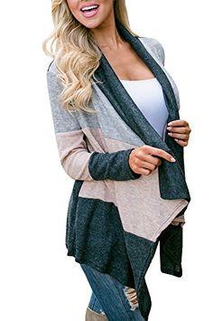 a86537b53c Amazon.com  Cardigans for Women Black Kimono Duster Fashion Casual Blue  Color Block Knit Cardigan Sweater Outwear  Clothing