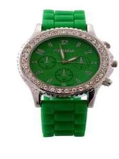 Crystal+Watch+Rubber+Strap+GREEN+++#STRADA+#Fashion   http://stores.ebay.com/JEWELRY-AND-GIFTS-BY-ALICE-AND-ANN