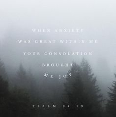 "Pslam 94:19  ""When anxiety was great within me, your consolation brought me joy."""