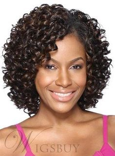 #WigsBuy - #WigsBuy Synthetic Kinky Curly Middle Length Lace Front Women Wigs 12 Inches - AdoreWe.com