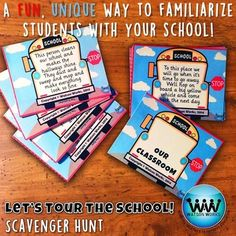 In this back to school scavenger hunt, you will familiarize your students with important people and places in their school, in a fun,… Counselor Office, Nurse Office, School Building, Team Building, School Scavenger Hunt, Back To School Activities, School Ideas, Computer Lab, First Day Of School