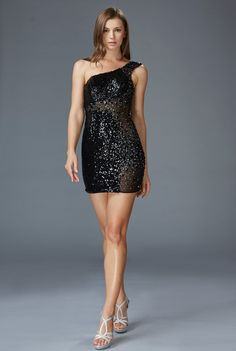 G1150 One Shoulder Sequin Little Black Dress