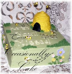 You'll BEE Missed - Going away cake for co-workers retirement.  She loved it!  I thought the bees turned out cute, though it was definitely a learning experience.  I had to put all the bees back on after delivery.  Pineapple cake with Pina-Colada filling, YUMMY!  I drew a ton of inspiration from all the other beehive and garden cakes on this site.  I love CC'ers!