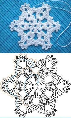 Wonderful DIY Crochet Snowflakes With Pattern - Szydełko Crochet Snowflake Pattern, Christmas Crochet Patterns, Crochet Christmas Ornaments, Crochet Stars, Crochet Snowflakes, Holiday Crochet, Snowflake Ornaments, Christmas Knitting, Christmas Star