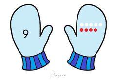 Spel beginnende gecijferdheid: Zoek mijn andere handschoenspel - Juf Anja