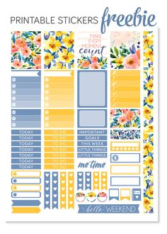Super cute FREE printable floral planner stickers kit!