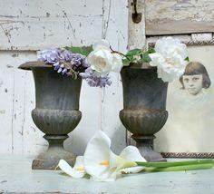 French Vintage Cast Iron Urn/Decorative Urn/ French Garden Urn/Shabby Chic Decor by Restored2bloved on Etsy