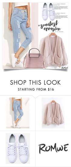 """Blue Ripped Drawstring Denim Pants"" by amra-mak ❤ liked on Polyvore"