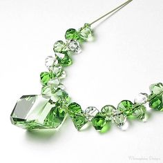 EMERALD KISS Crystal Necklace by whimsydaisydesigns on Etsy, $46.00