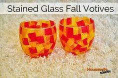 Housewife Eclectic: Stained Glass Fall Votives