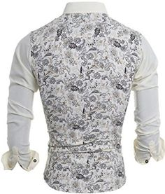 jeansian Men's Vintage Floral Pattern Long Sleeves Dress Shirts 84A2