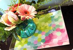 DIY Home Decor | Make a DIY acrylic tray in one simple step!  I love the idea of switching out patterned paper for each holiday and season!