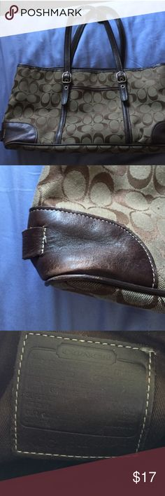 Coach medium size purse *NOT SURE OF AUTHENTICITY, GOT IT SECOND HAND, but I think it is* it's great there's some wear in one corner but it still functions just fine. It's great for holding a decent amount of things but isn't going to fit anything giant like a mini vacuum in it reselling Bc original buyer returned it! Coach Bags Shoulder Bags