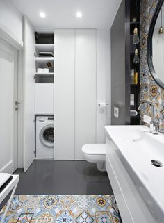 Little shower room concepts to optimize your tiny space. Although with a tiny si… Little shower room concepts to optimize your tiny space. Although with a tiny size we will … Laundry Bathroom Combo, Small Bathroom Cabinets, Modern Laundry Rooms, Laundry Room Bathroom, Bathroom Layout, Bathroom Interior Design, Bathroom Storage, Bathroom Ideas, Master Bathrooms