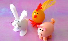You will need        Blown Eggs      Spray paint      Black beads      Brisles from a brush      Feathers      Buttons      Pipe cleaners      Paintbrush      Felt      Blits Stik Super Glue Gel    You will find much delight in creating these incredibly cute Easter animals.