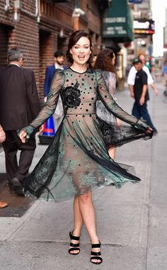 Olivia Wilde from The Big Picture: Today's Hot Photos  Simply stunning! The actress twirls around in her Monique Lhuillier dress in Manhattan.