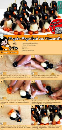 Are guests coming? Then surprise everyone with penguin finger food from mozzarella! The sweet fellows from olive and mozzarella will delight everyone. The penguin finger food from mozzarella recipe video is easy to find with the help of the QR code :] Party Finger Foods, Snacks Für Party, Appetizers For Party, Appetizer Recipes, Bacon Recipes, Cooking Recipes, Kreative Snacks, Make Your Own Cookbook, Fingerfood Party