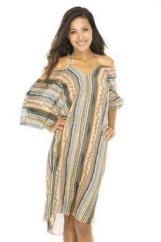 One tunic dress, so many looks!  Belt it for a boho look, slip it over your swimsuit for summer style, or slide the sleeves up for night on the town style.