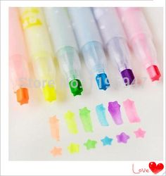Creative stationery star type written singular fluorescent pen Watercolors marker (6 colors)