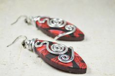 aluminium polymer clay earrings polymer clay jewelry by Violanima