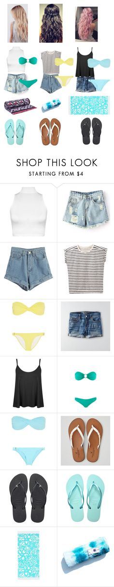 """""""Squad at the beach"""" by theresa918 ❤ liked on Polyvore featuring WearAll, WithChic, Lee, Melissa Odabash, American Eagle Outfitters, Havaianas, PBteen and Tory Burch"""