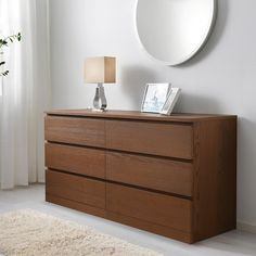 MALM Chest of 6 drawers - brown stained ash veneer - IKEA Storage plus somewhere to display items high Ikea Malm Dresser, 6 Drawer Dresser, Dresser As Nightstand, Brown Dresser, Wide Chest Of Drawers, Wood Veneer, Home Interior, Storage Spaces, Ikea Storage