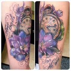 "Todays tattoo ""Time waits for no one"" on the lovely Parisha. Larkspurs for her…"