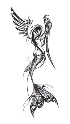 Mermaid Angel Fairy Tattoo...like the idea...