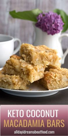 Keto coconut macadamia bars might just be my new favorite low carb treat. Buttery almond flour shortbread crust with a gooey sugar-free coconut and macadamia topping. Low Carb Chicken Recipes, Healthy Low Carb Recipes, Low Carb Dinner Recipes, Low Carb Desserts, Low Carb Keto, Keto Recipes, Dessert Recipes, Lunch Recipes, Supper Recipes