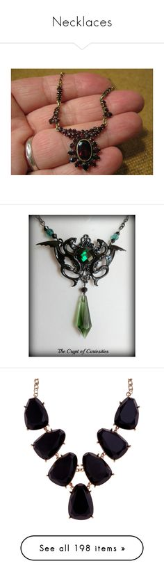 """Necklaces"" by smilxngstars on Polyvore featuring jewelry, necklaces, antique jewellery, garnet necklace, antique jewelry, bohemian jewellery, antique gold jewellery, harry potter, slytherin und green necklace"