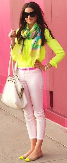 might be a little too bright but I do like the pops of color and how scarves can work for the summer too
