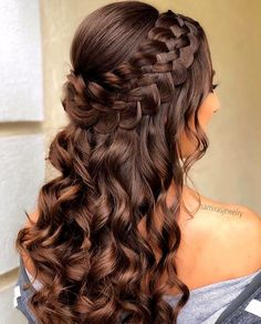 Braided Half Up Updo For Wavy Hair ❤️Hairstyles for long hair are really popular right now. See our 18 amazing Christmas ideas of half up half down hairstyles for long hair. ❤️ homecoming hairstyles 18 Nice Holiday Half Up Hairstyles for Long Hair Quince Hairstyles, Hairstyles Haircuts, Sweet 16 Hairstyles, Fancy Hairstyles, Hairstyles For Dances, Beautiful Hairstyles, Birthday Hairstyles, Natural Hairstyles, Cute Hairstyles With Braids