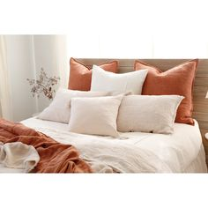 Simple yet stylish, the Logan duvet cover features a subtle heathered effect for added texture in any bedroom. Made from linen, its frayed edges add a touch of unexpected detail. Finished with shell button closures. White Comforter Bedroom, Twin Xl Bedding, Duvet Bedding, King Duvet, Queen Duvet, Cream Bedding, Warm Bedroom, Room Ideas Bedroom, Bedroom Decor