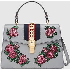 Gucci Sylvie Embroidered Leather Top Handle Bag (62,650 MXN) ❤ liked on Polyvore featuring bags, handbags, gucci, purses, bags new, grey, gray handbags, hand bags, gray purse and grey handbags