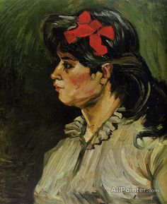 Vincent Van Gogh Portrait Of A Woman With A Red Ribbon oil painting reproductions for sale
