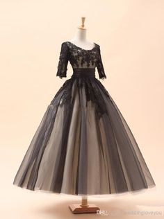 2015 Amazing In Stock Cocktail Dresses A-Line Crew Black Appliques 3/4Long Sleeve Tea-Length Lace Tulle Prom Evening Dresses Party Dress, $65.97 | DHgate.com