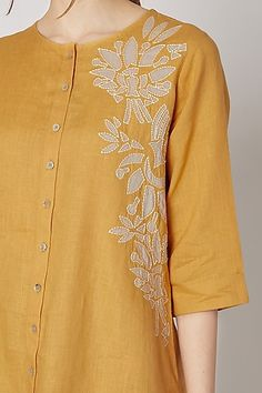 Mustard Jumpsuit With Printed & Embroidered Jacket Design by Ek Soot at Pernia's Pop Up Shop Embroidery Suits Design, Border Embroidery, Embroidery Patterns, Hand Embroidery, Designer Suits For Wedding, Designer Wear, Simple Kurti Designs, Kurta Designs Women, Dressing Rooms
