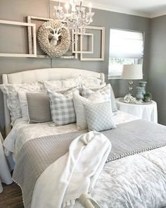 35 Relaxing Farmhouse Bedroom Design Ideas To Try In Your Home - Decorating your bedroom with white bedroom furniture has so many benefits that I don't see why anyone wouldn't, at the least consider, using this furn. Cozy Bedroom, Bedroom Curtains, Kids Bedroom, Master Bedrooms, Bedroom Wallpaper, Bedroom Small, Girl Bedrooms, Bedroom 2018, Bedroom Suites