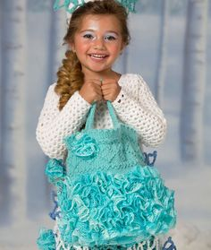 Snow Princess Trick or Treat Bag Free Pattern from Red Heart Yarns