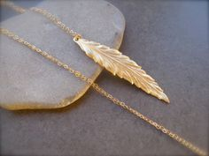 Long Slender Leaf Pendant in Gold, Delicate Pendant, Metal Pendant, Gold, Long