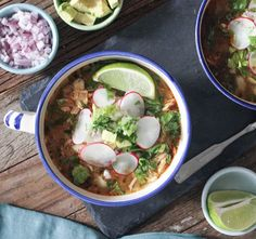 20-Minute Chicken Posole Recipe Soups, Main Dishes with green chilies, low sodium chicken stock, olive oil, yellow onion, garlic, dried oregano, ground cumin, chili powder, white hominy, chicken breasts, kosher salt, lime, romaine lettuce, cilantro, radishes, purple onion, avocado