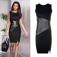 28edb7ed92 5XL Fall Plus Size Party Dress Women Faux Leather Splice OL Black Pencil  Dress O Neck Sleeveless Elegant Slim Bodycon Dress 2019